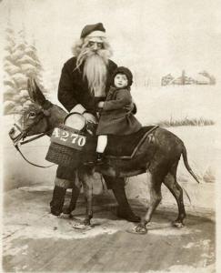 Santa and donkey
